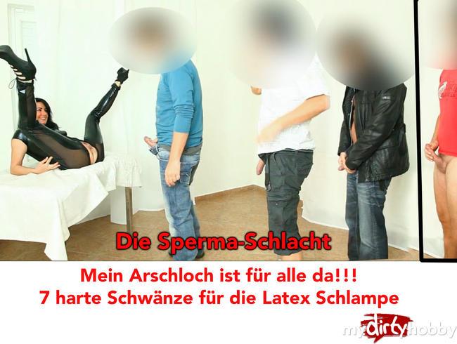 Video Thumbnail Die Sperma-Schlacht. 7 harte Schwänze für die Latex-Schlampe!