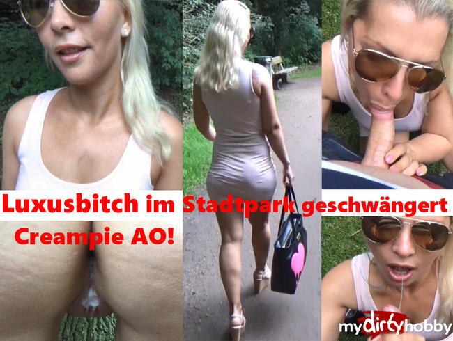 Video Thumbnail Luxusbitch im Stadtpark geschwängert! Creampie AO