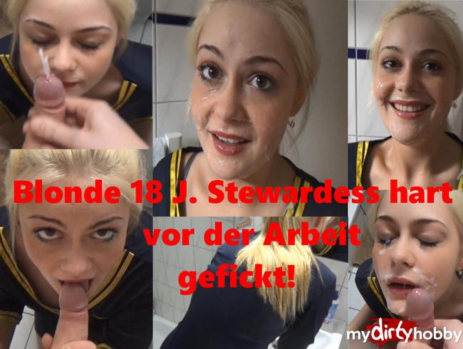 Video Thumbnail Blonde 18 J. Stewardess hart vor der Arbeit gefickt!