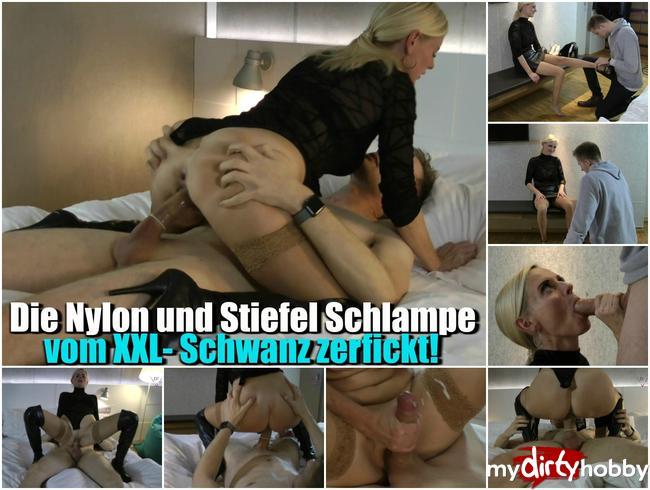 Video Thumbnail Die Nylon und Stiefelschlampe – Vom XXL Schwanz zerfickt!
