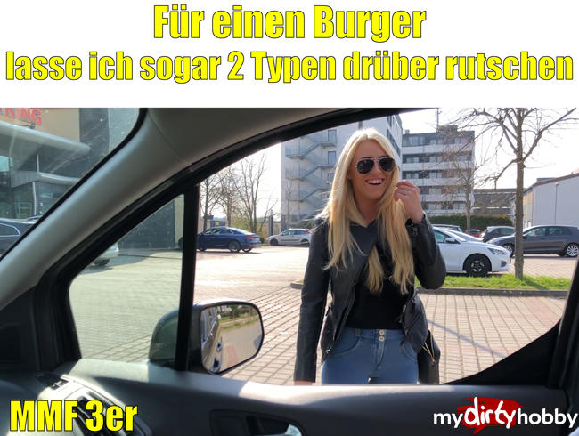 Daynia - Für einen Burger lass ich sogar 2 Typen drüber rutschen | MMF-3er bis zur Spermafresse!