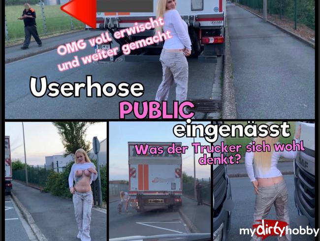Video Thumbnail Vollgesaute Userhose Public eingenässt - OMG Mega erwischt - was der Trucker sich wohl denkt?