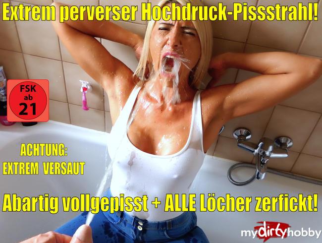 Video Thumbnail Extrem versauter Hochdruck-Pissstrahl | Erst pervers vollgepisst, dann ALLE Löcher zerfickt!