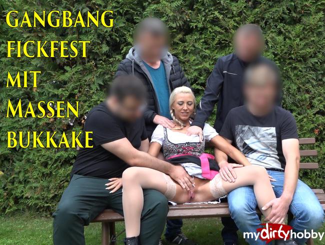 Daynia - Oktoberfest Gangbang mit Massen Bukkake! 4 Mega Spritzer in die Dirndl Fresse!