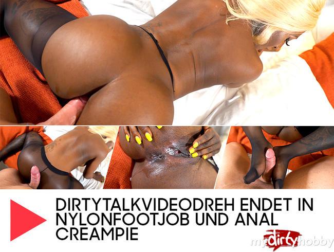 Video Thumbnail Dirtytalkvideodreh endet in Nylonfootjob und Anal Creampie