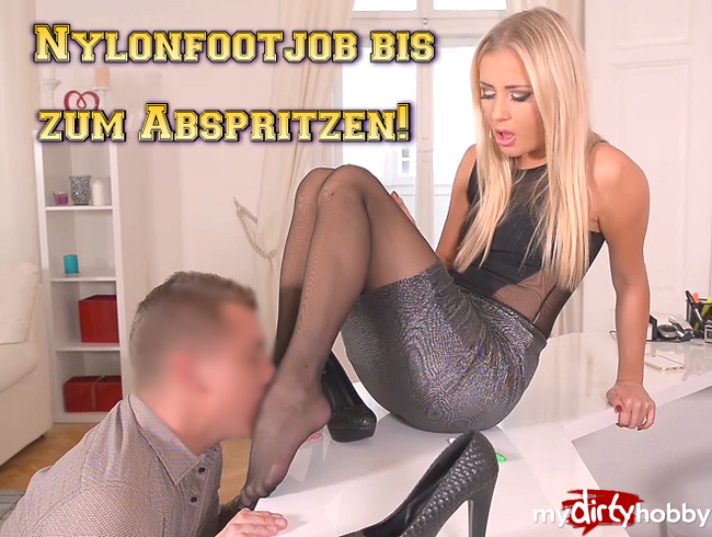 Video Thumbnail Nylonfootjob bis zum Abspritzen!