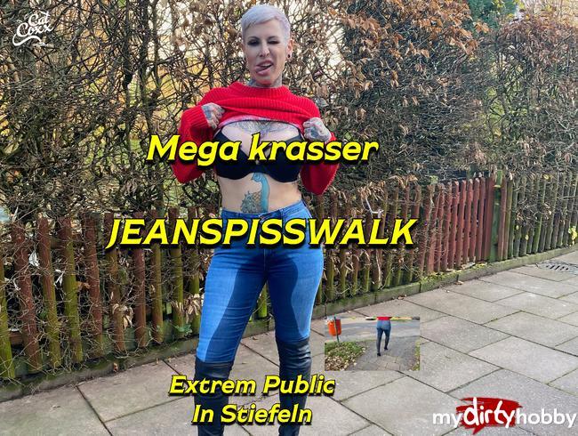 Video Thumbnail Krasser public  Jeanspisswalk in Stiefeln