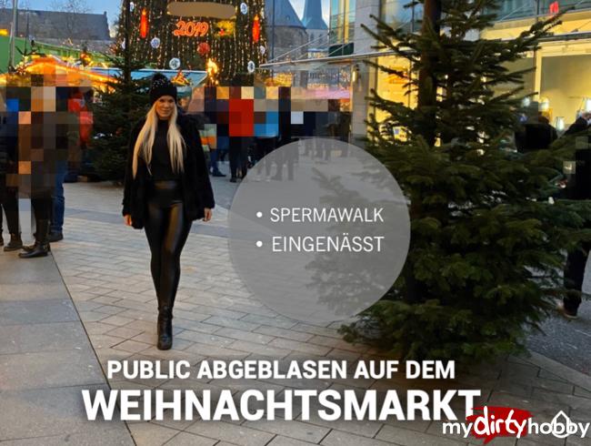 Video Thumbnail Public Abgeblasen mit Spermafresse + eingenässt in Latexhose auf dem Weihnachtsmarkt