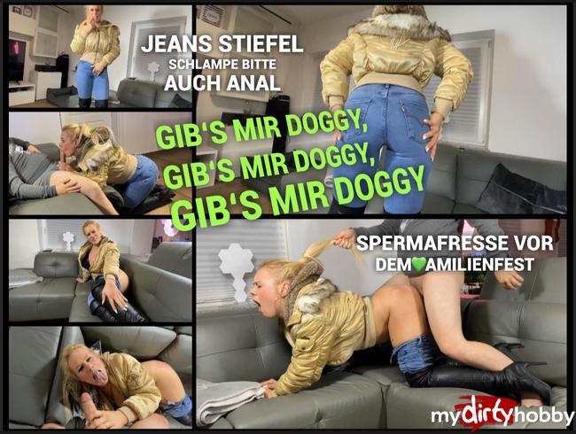 Video Thumbnail Jeans Stiefel Schlampe - gibs mir Doggy - auch ANAL - Spermafresse vor dem Fest