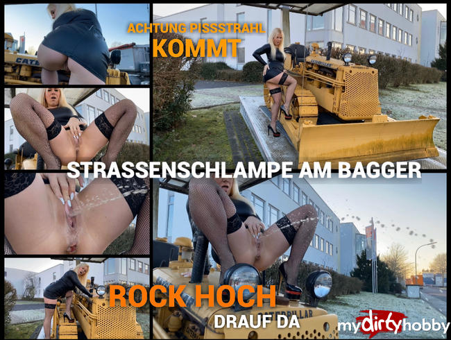 devil-sophie - Straßenschlampe am Bagger - Rock hoch - rauf da - Achtung Pissstrahl kommt