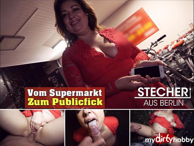 Video Thumbnail Vom Supermarkt zum Publicfick mitten auf der Strasse ins Maul gespritzt