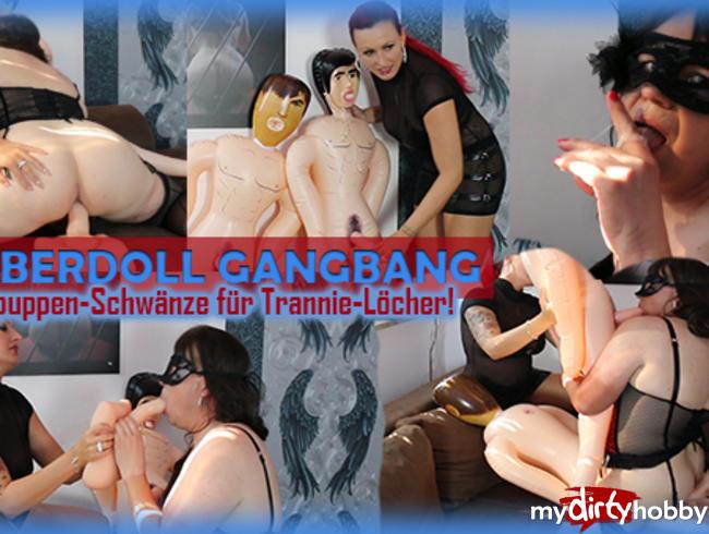 Video Thumbnail RubberDoll GangBang - Gummipuppen-Schwänze für Trannie-Löcher!
