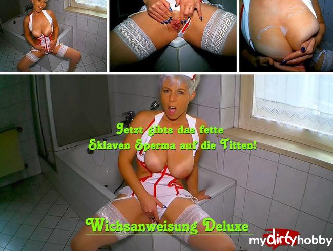 Video Thumbnail Jetzt gibts das Sklaven Sperma auf die Titten!