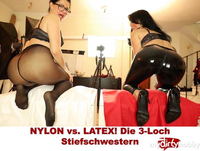 Video Thumbnail NYLON vs. LATEX! Die 3-Loch Stiefschwestern