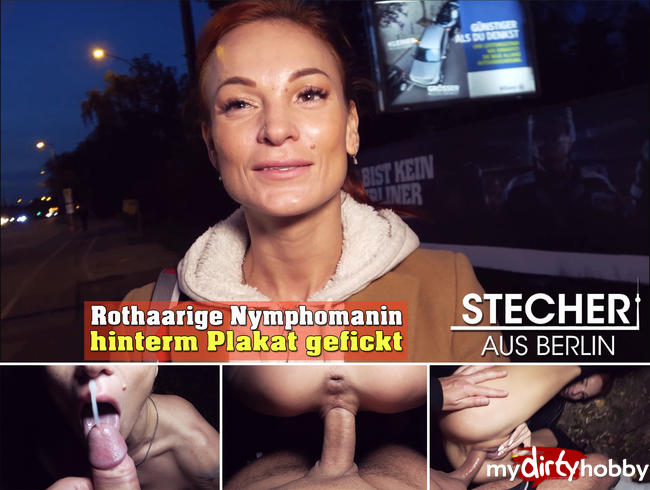 Video Thumbnail Rothaarige Nymphomanin hinter Plakat gefickt ..