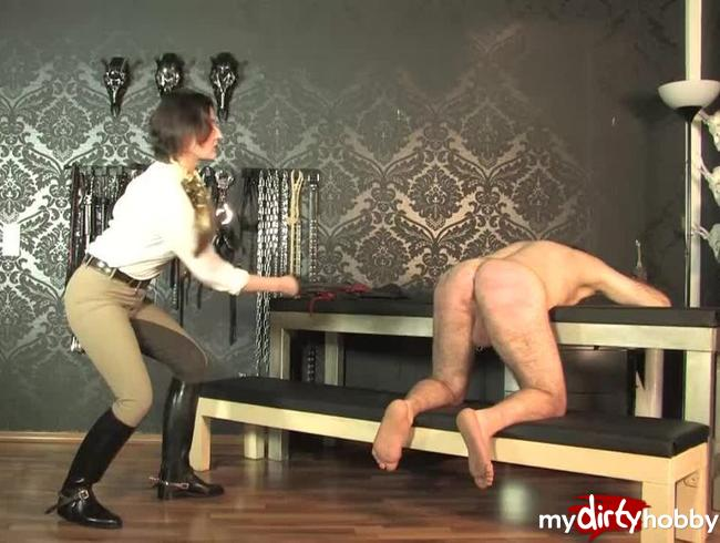 Video Thumbnail Single Tail Peitsche Training des nackten Sklaven  Teil 4