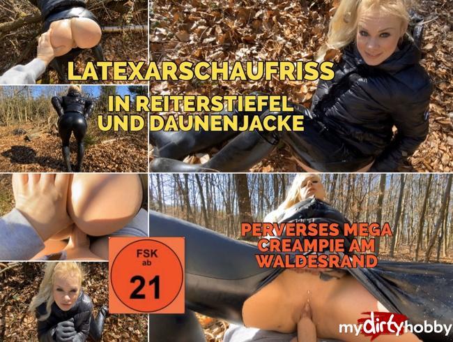 Video Thumbnail LATEXARSCHAUFRISS in REITERSTIEFEL und DAUNENJACKE perverse Piss Fetz SPIELE mit Mega Creampie