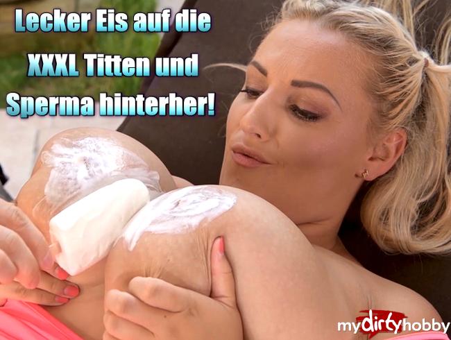 Video Thumbnail Lecker Eis auf die XXXL Titten und Sperma hinterher!