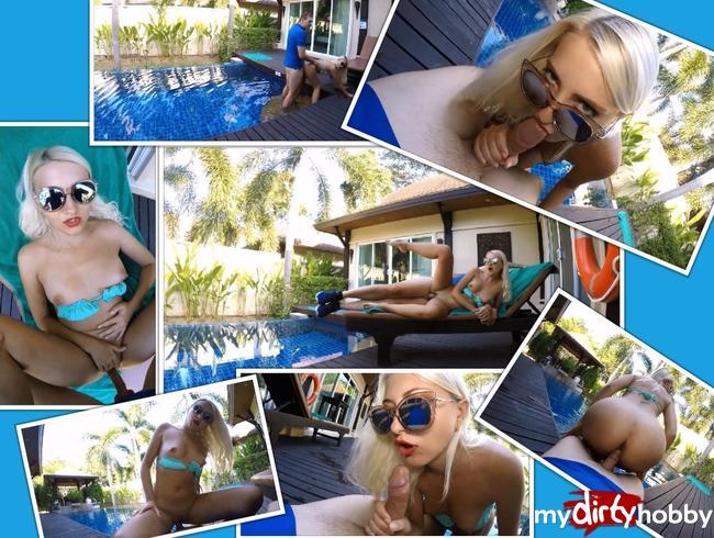 Video Thumbnail Reiches Teenie-Girl in der Villa ihrer Eltern am Pool gefickt. Hat sturmfrei. Extrem public. Schluck