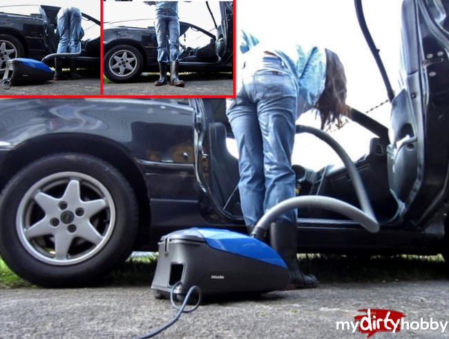 Video Thumbnail Mega-Piss in Jeans + Gummistiefeln beim Auto staubsaugen