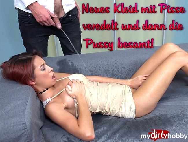 Video Thumbnail Neues Kleid mit Pisse veredelt und dann die Pussy besamt!