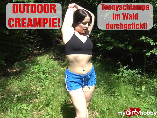 Video Thumbnail OUTDOOR CREAMPIE! Teenyschlampe im Wald durchgefickt!