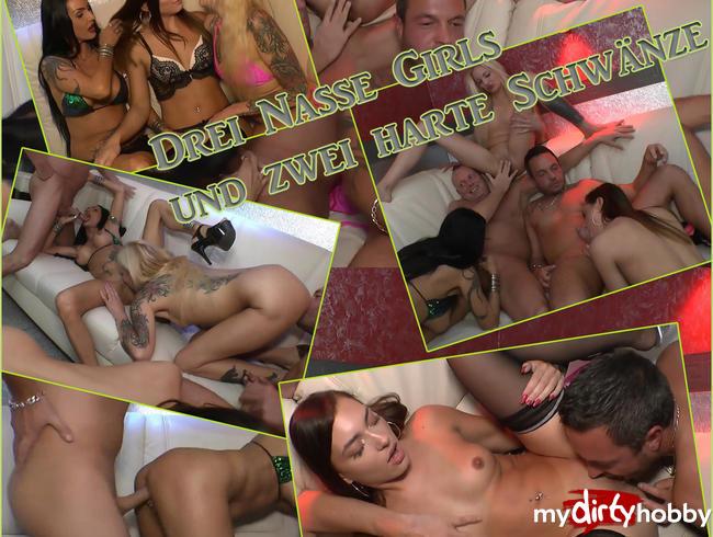 Video Thumbnail Drei nasse Girls und zwei Harte Schwänze