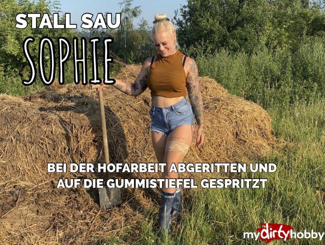 Video Thumbnail STALL SAU SOPHIE | bei der Hofarbeit abgeritten und auf die Gummistiefel gespritzt