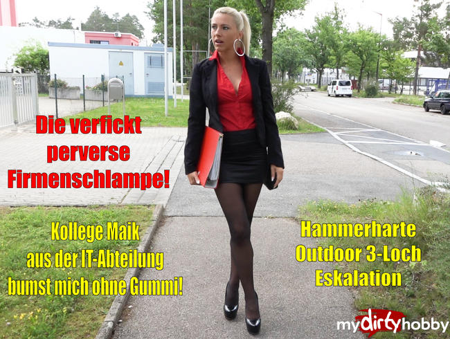 Video Thumbnail Die verfickt perverse Firmenschlampe | 3Loch-Outdoor Eskalation mit Kollege Maik!