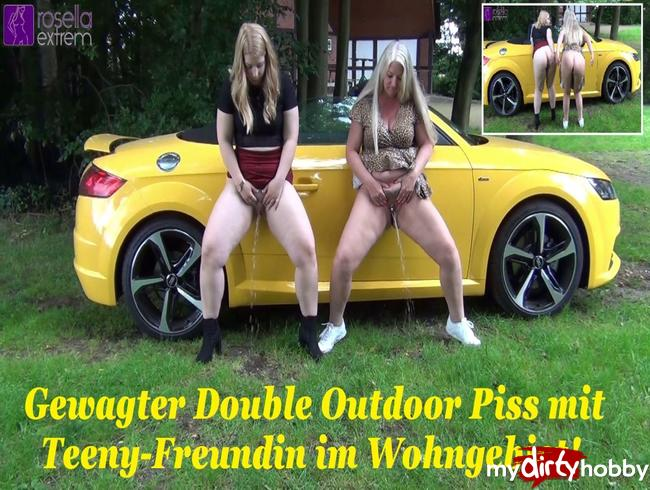 Video Thumbnail Gewagter Double Outdoor Piss mit Teeny-Freundin im Wohngebiet!