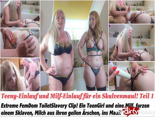 Video Thumbnail Teeny-Einlauf und Milf-Einlauf für ein Skalvenmaul! Teil 1