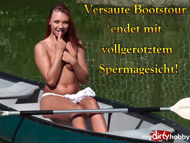 Video Thumbnail Versaute Bootstour endet mit vollgerotzten Spermagesicht!