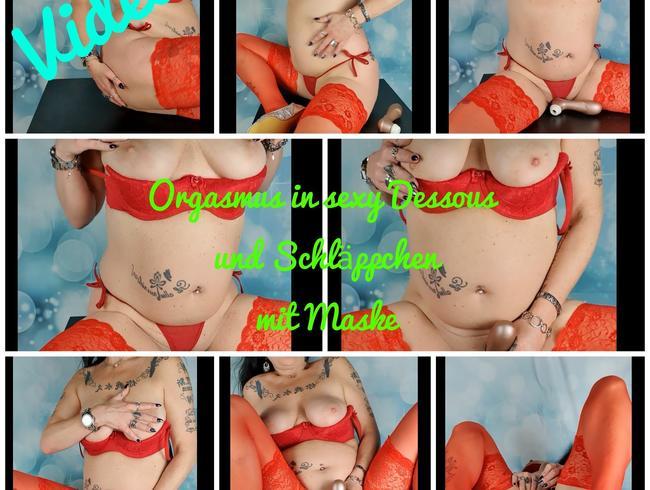 Video Thumbnail Orgasmus in sexy Dessous,Maske und Schläppchen
