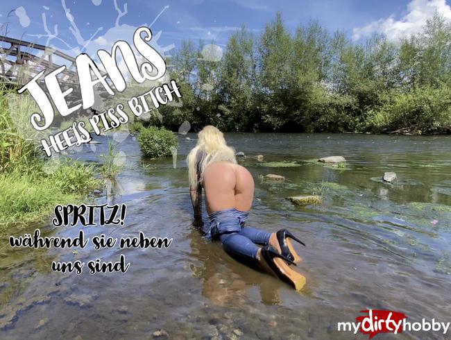 Video Thumbnail Jeans Heels Piss Bitch - Spritz ! während sie neben uns sind