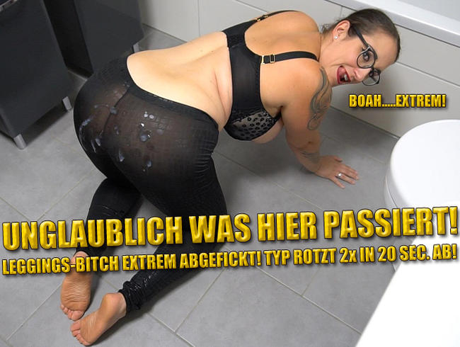 Video Thumbnail Unglaublich was hier passiert! Leggings-Bitch Extrem Zerfickt! Typ rotzt 2x in 20 Sec. ab!