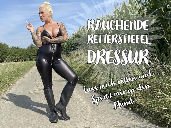 Video Thumbnail Rauchende Reiterstiefel Dressur - lass mich reiten und Spritz mir in den Mund