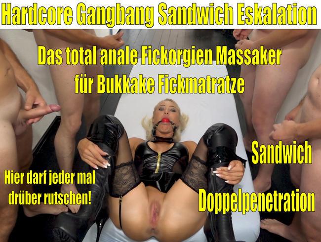 Daynia - Die Hardcore Gangbang Sandwich Eskaltion | Anales Fickorgienmassaker für Bukkake Fickmatratze!