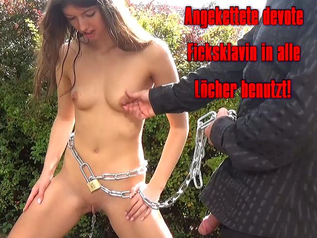 Video Thumbnail Angekettete devote Ficksklavin in alle Löcher benutzt!