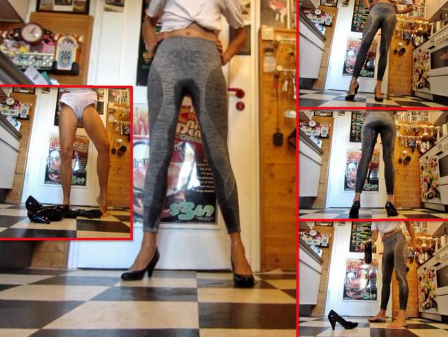 Video Thumbnail Piss in grauer Leggings und Pumps in der Küche