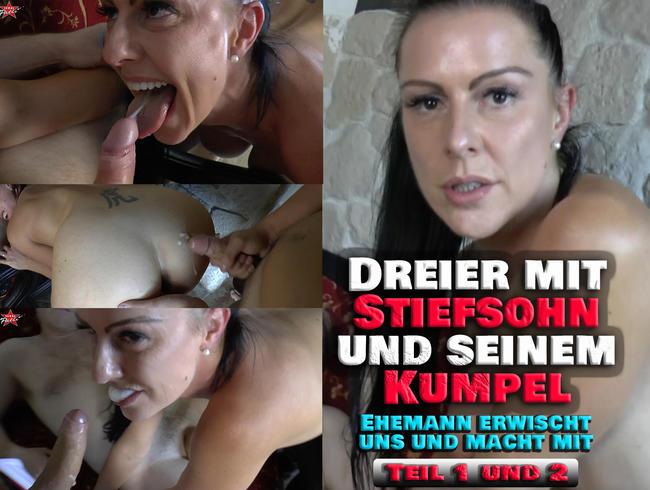 Video Thumbnail Dreier mit Stiefsohn und seinem Kumpel. Ehemann erwischt uns und macht mit. Der komplette Film