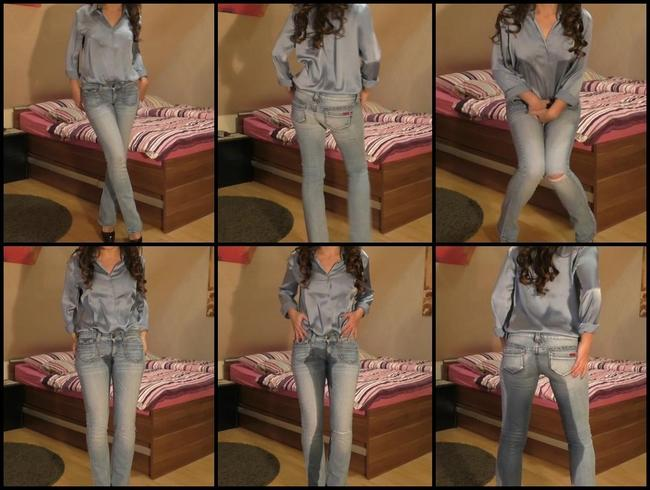 Video Thumbnail Satin Bluse...Jeans= nass