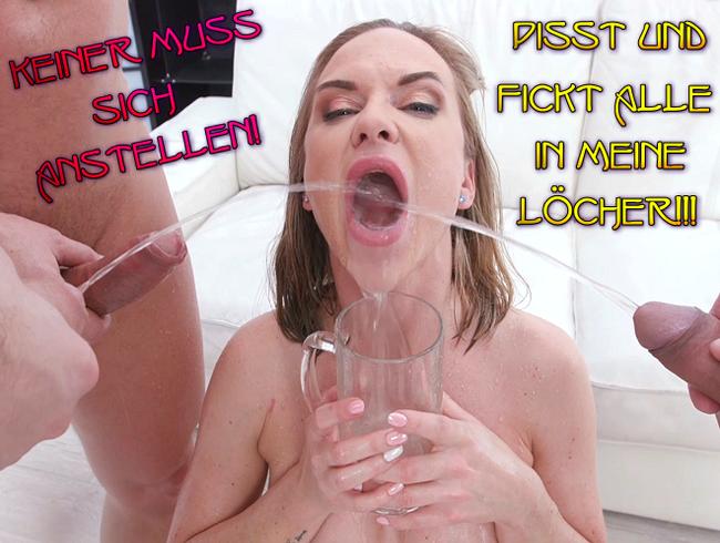 Video Thumbnail Keiner muss sich anstellen! Pisst und fickt alle in meine Löcher!!!