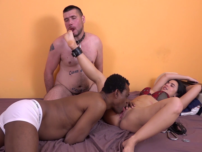 Video Thumbnail HANDCUFFED TO MY CUCKOLD-LICK MY FEET WHILE MY BULL EAT ME OUT!