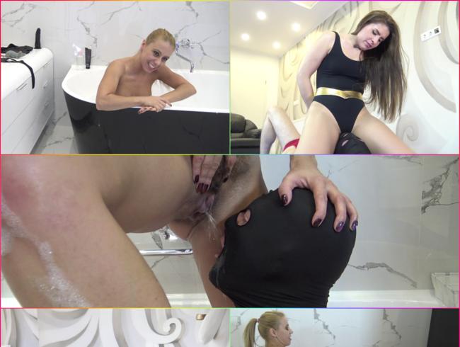 Video Thumbnail Wrestling, Strapon und viel Natursekt für den Sklaven