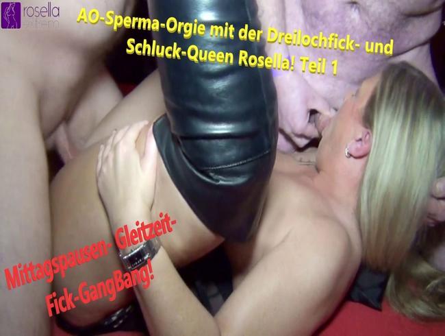 Video Thumbnail AO-Sperma-Orgie mit der Dreilochfick- und Schluck-Queen Rosella! Teil 1