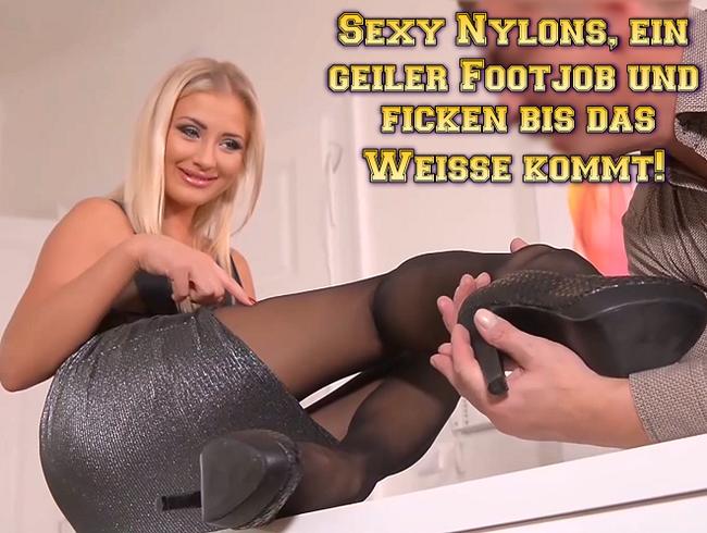 Video Thumbnail Sexy Nylons, ein geiler Footjob und ficken bis das Weiße kommt!