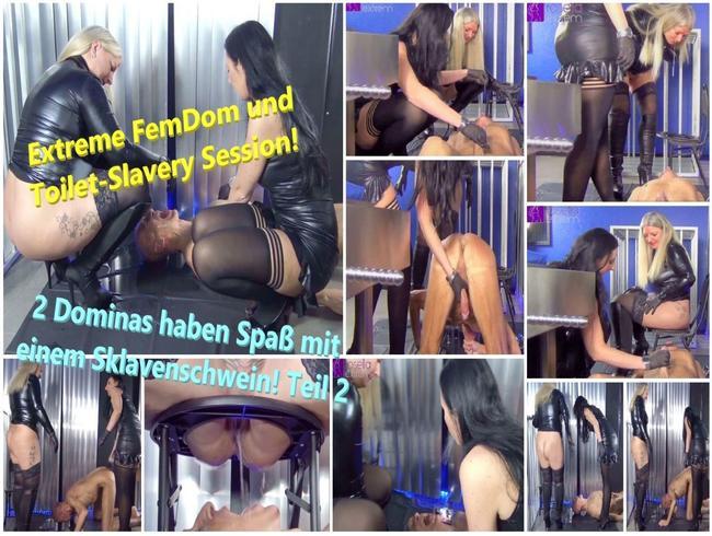 Video Thumbnail Extreme FemDom und Toilet-Slavery Session! 2 Dominas haben Spaß mit einem Sklavenschwein! Teil 2