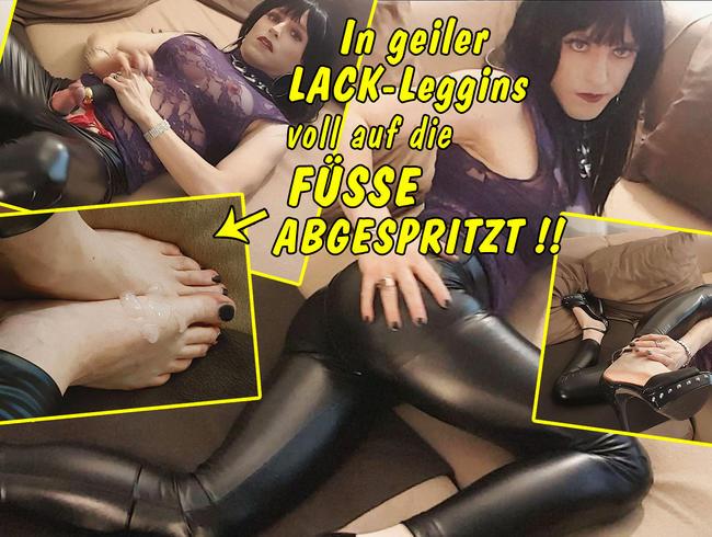 Video Thumbnail Sexy in Lack Leder Leggins! Voll auf meine nackten Füße abgespritzt!