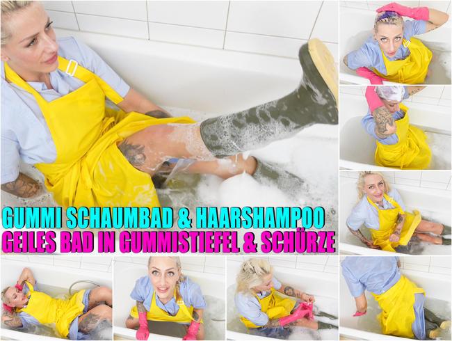 Video Thumbnail Gummi Schaumbad und Haare shampoonieren mit Kittel Gummischürze Gummistiefel und Gummihandschuhen