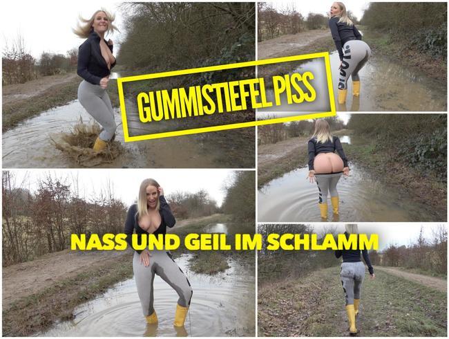 Lara-CumKitten - GUMMISTIEFEL PISS | Nass und geil im Schlamm